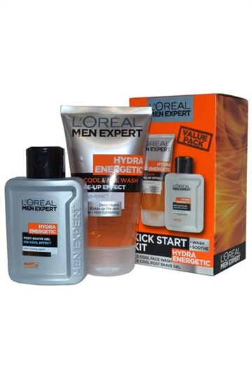 L Oreal Men Expert Kick Start Kit Hydra Energetic Face Wash and Post Shave Gel