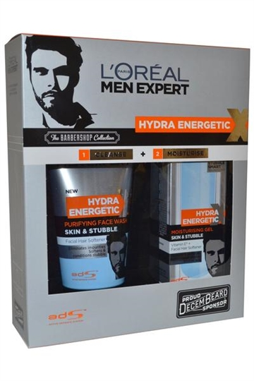 L Oreal Men Expert  Hydra Energetic X Barbershop Collection Face Wash 150ml & Moisturise Gel 50ml